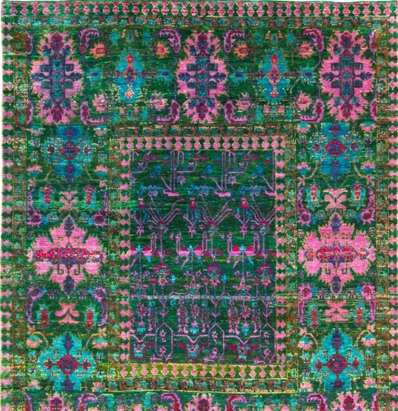 New Mamluk-Style Green and Pink Sari Silk Rug