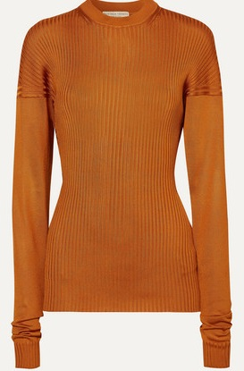 Paneled ribbed silk sweater, Bottega Veneta.