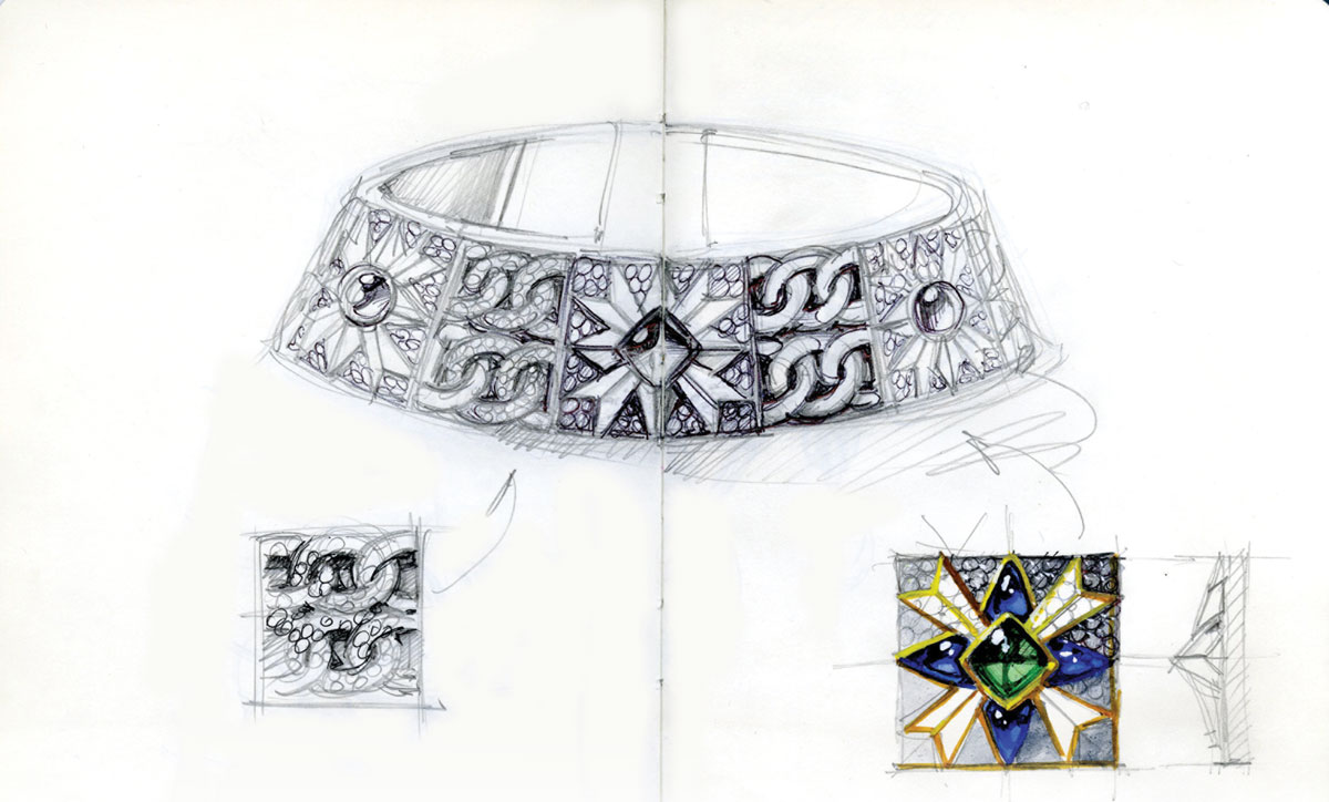 Bodino's sketch of the Rosa dei Venti Choker — Maison Giampiero Bodino's first piece.