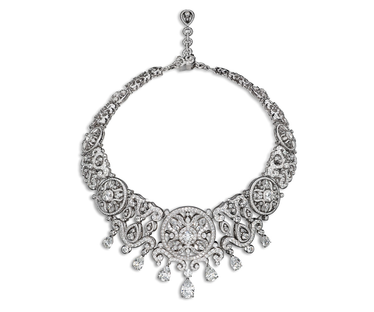 The Corona Necklace sparkles with diamonds and white gold.
