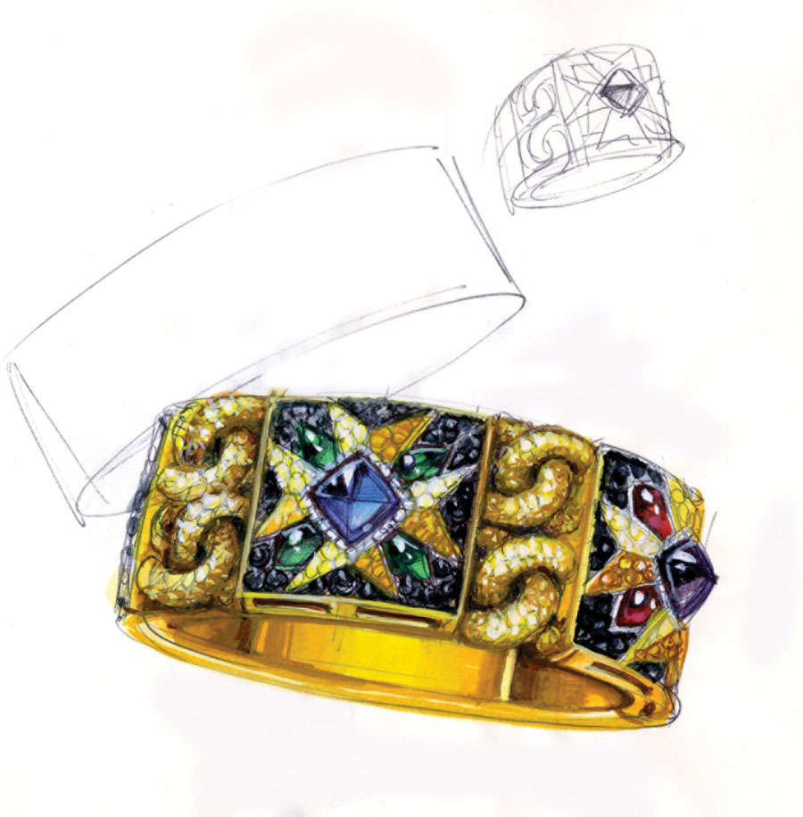 Bodino's beautiful sketches of the Rosa dei Venti bracelet and ring.