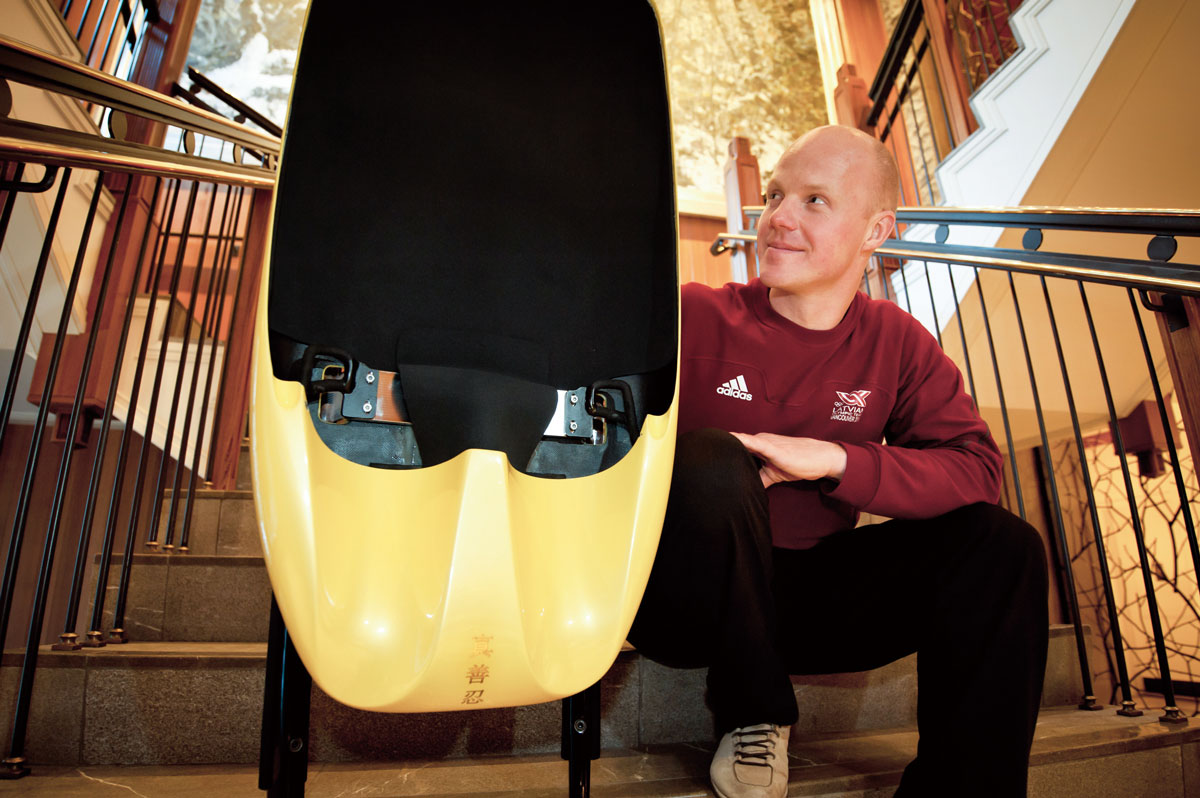 Olympic luge athlete Martins Rubenis and his luge