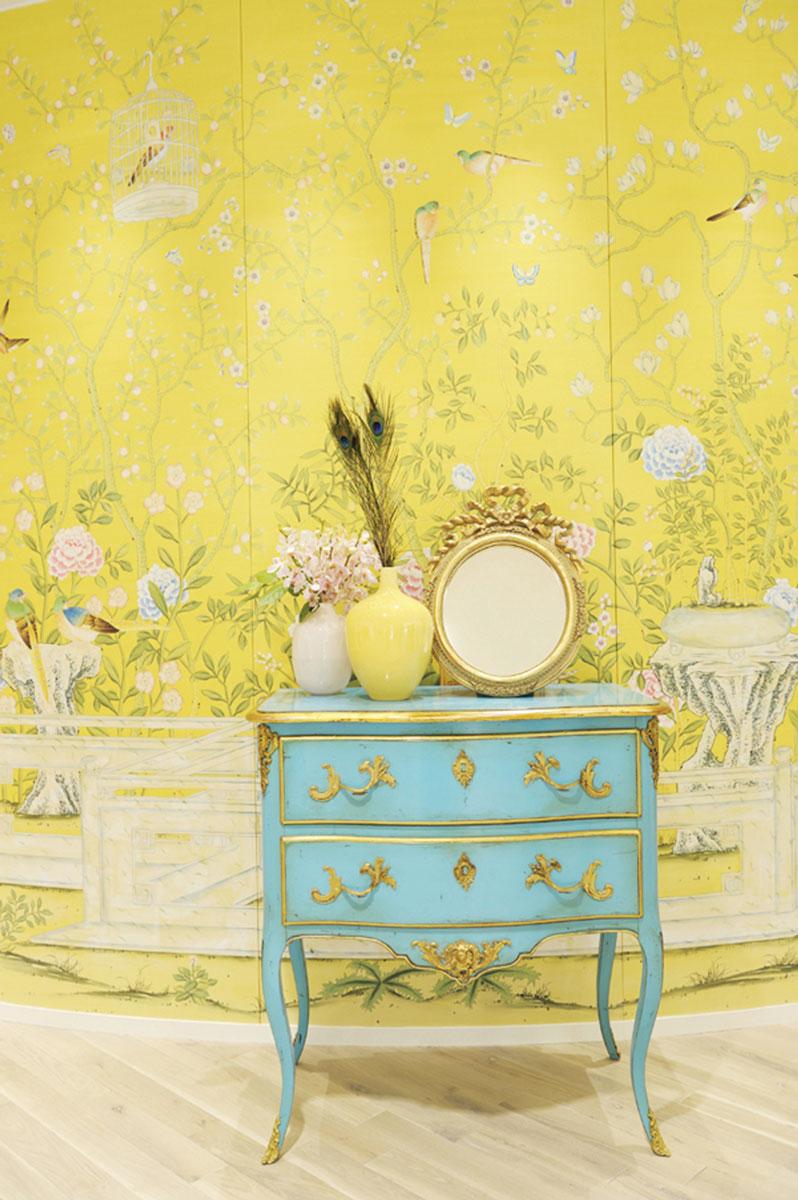 Hand-painted Temple Newsam on Custom Yellow Painted Silk