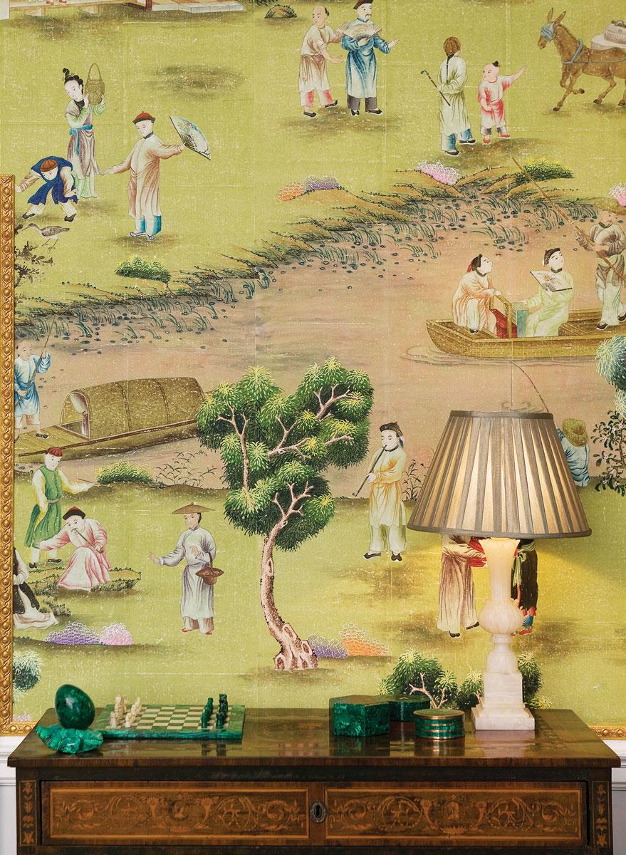 Hand-painted Hampton Court on Vivid Olive India Tea Paper