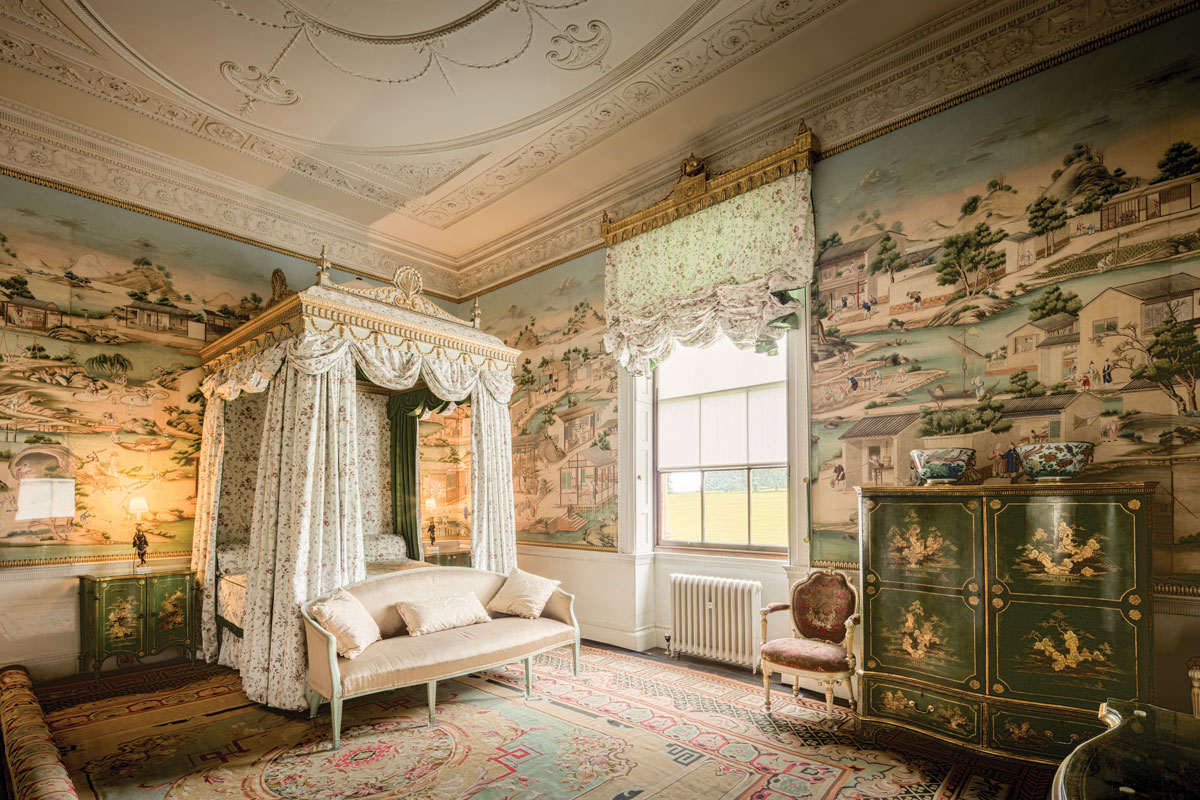 Harewood House, with mid-18th-century Chinese wallpaper and a mid-19th-century handwoven French carpet.