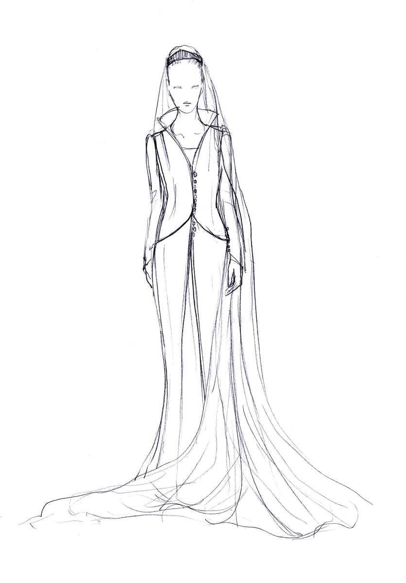 An artist to the bone, Vermeulen started out as an interior designer before fate shifted his focus. Here, a sketch of the wedding dress for his lifelong client, Queen Mathilde