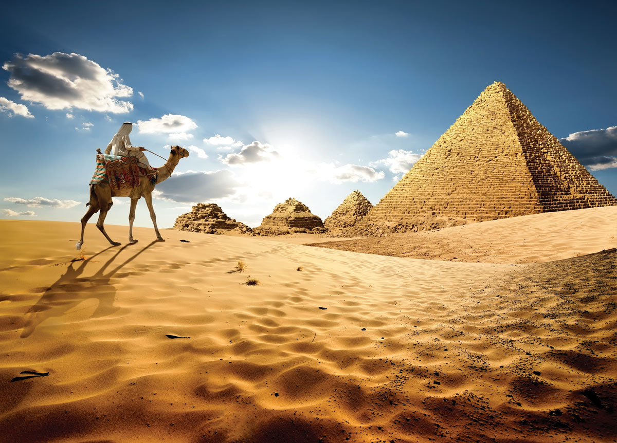 At Giza, it's customary to take a tour by camel in the shadows of the pyramids.