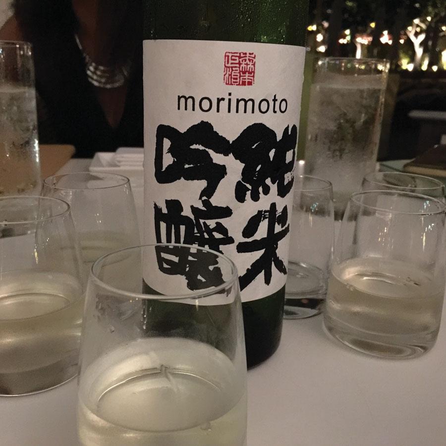 Bottles of Morimoto Sake