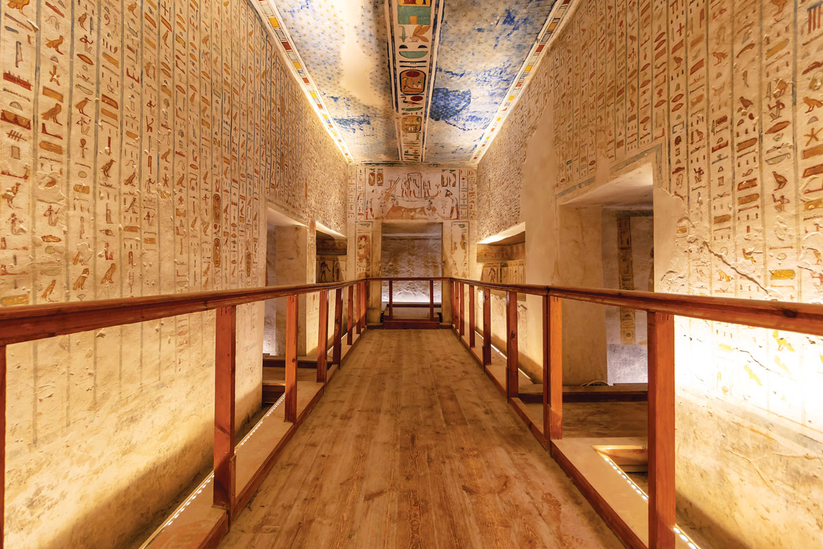 The tomb of Ramses IV has multiple chambers, so he can take his belongings to the afterlife.