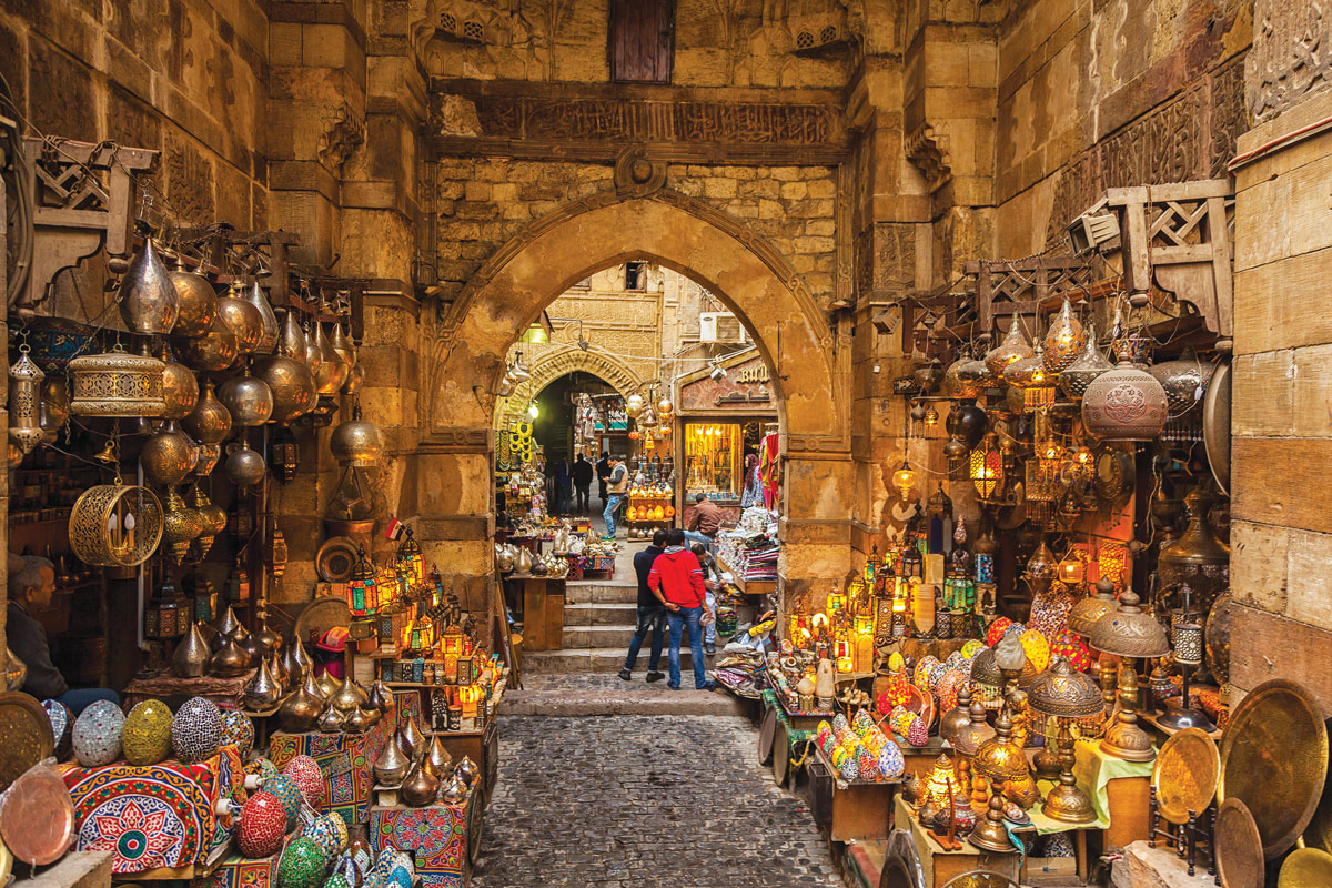 A market in an older enclave of Islamic Cairo offers traditional lanterns.