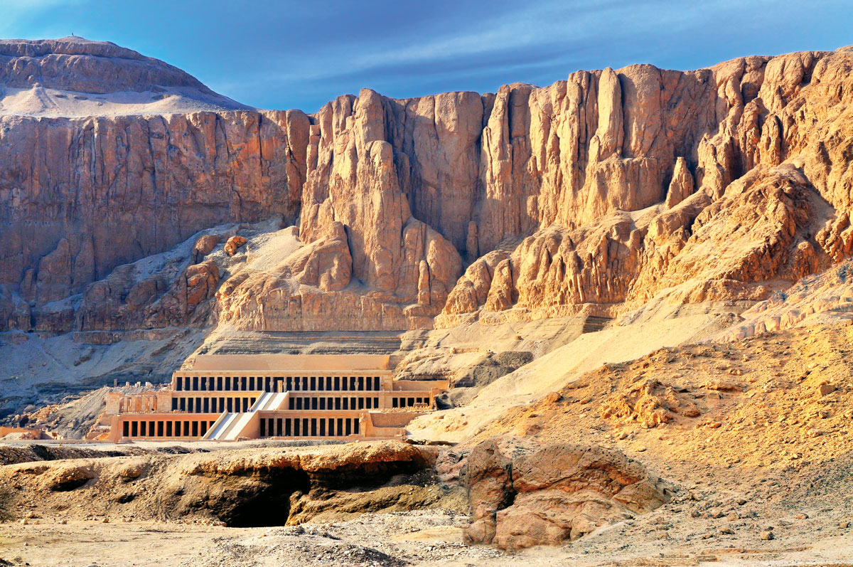 The mortuary temple of Hatshepsut was carved from a steep rock cliff.