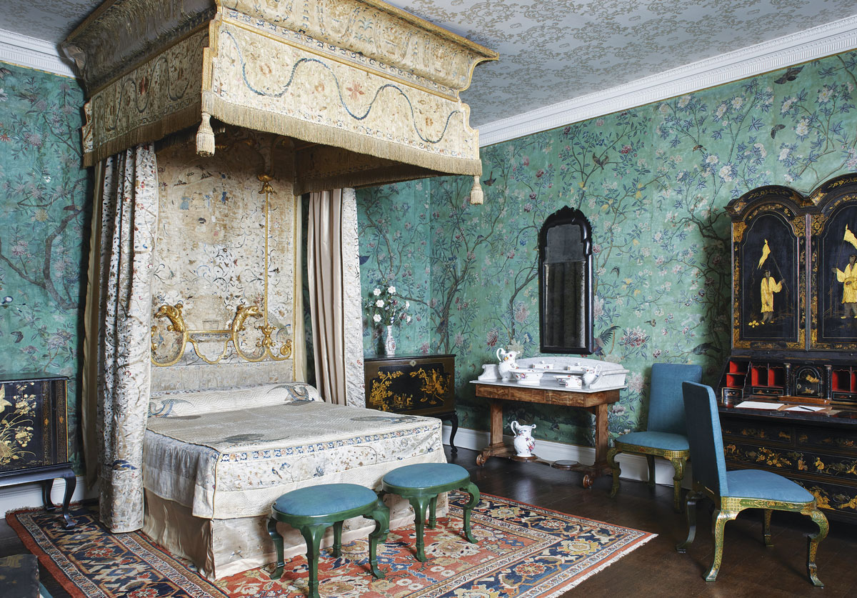 wallpaper_Paul-HighnamState bedroom, 1770s; bed upholstered with Chinese silk and imitation lacquer chairs 1720s.