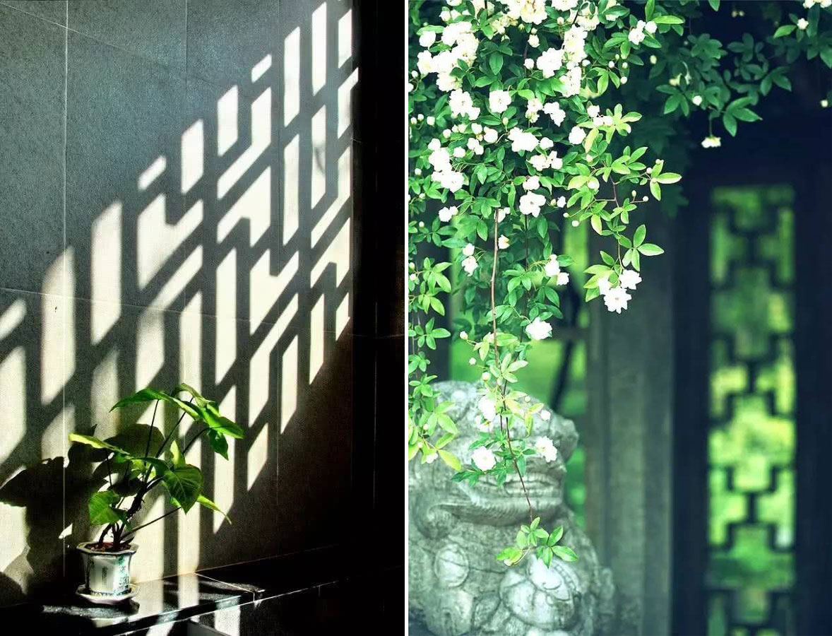window in asian architecture - perforated window