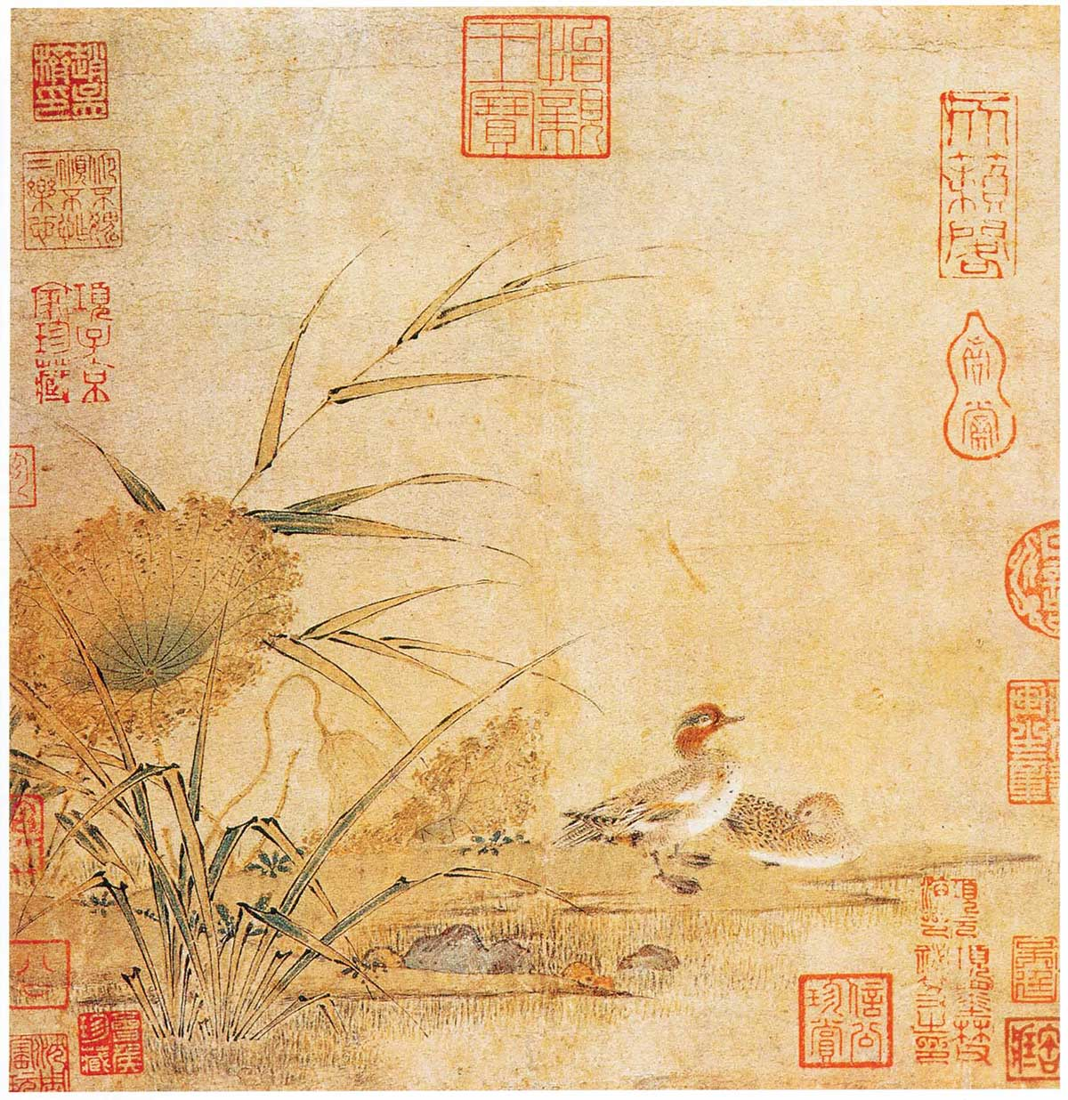"""Song Dynasty painting painted by Hui Chong, called """"Mandarin Ducks on an Autumn Bank."""""""