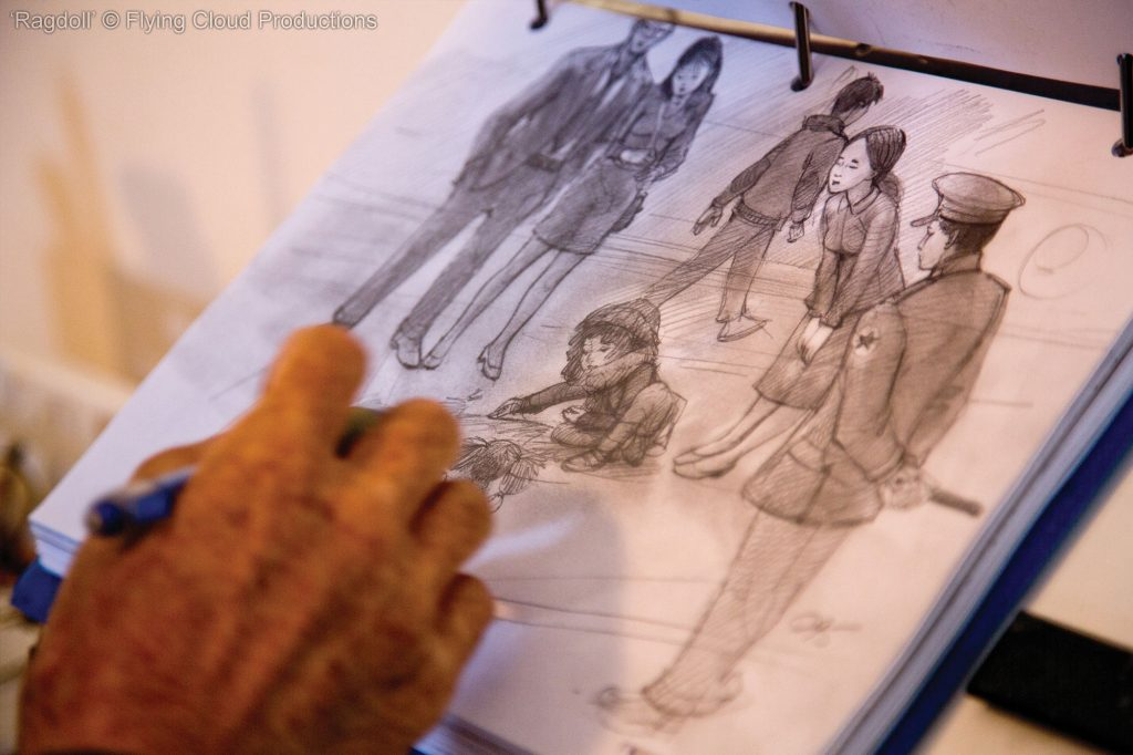 rag doll- Newton storyboards a scene